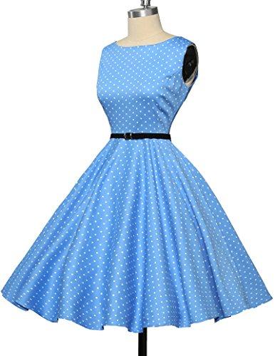Damen rockabilly kleid 50s vintage sommerkleid polka dots audrey hepburn kleid cocktailkleider S - 5