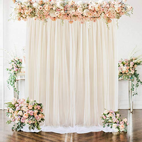 Champagne Tulle Backdrop Curtains for Baby Shower Party Wedding Photo Drape Backdrop for Photography Props Engagement Bridal Shower 5 ft X 7 ft
