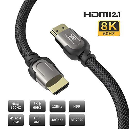 8K HDMI-Kabel, AUDIANO 8K HDMI 2.1 Kabel, 8K, Hochgeschwindigkeits-48-Gbit/s-8K bei 60 Hz, 7680P Dolby Vision, HDCP 2.2, 4: 4: 4-HDR, eARC-kompatibel mit Apple TV, Samsung QLED-3 Meter