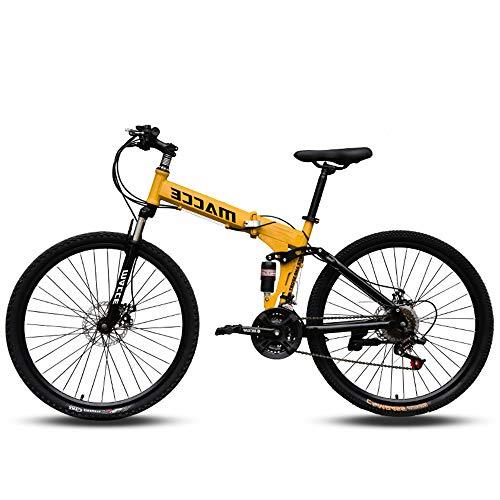 QIANG Bicicletas De Montaña para Hombres Plegables 24/26 Pulgadas Cuadro De Doble Suspensión Y Horquilla De Suspensión para Bicicleta De Montaña Todo Terreno 21 Velocidades,Yellow-26inch