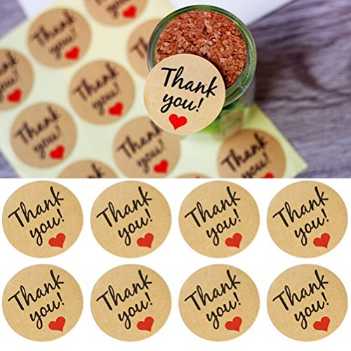 Thank You Stickers, Buytra 600 Pack Kraft Paper Thank You Adhesive Label with Red Heart for Party Bags, Wedding Favors, Round, 50 Sheets