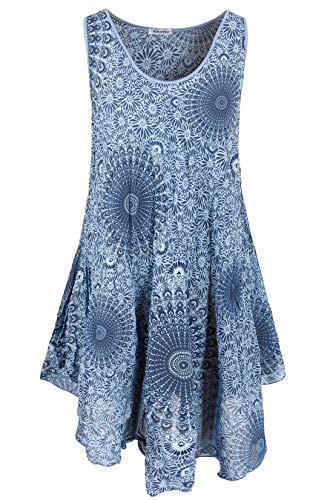 PEKIVESSA Strandkleid große Größen Damen ärmellos Sommerkleid Jeansblau 48+50 (Herstellergröße 3XL)
