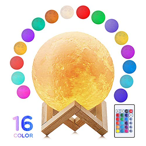 Fanmin 3D Moon Lamp Lighting Night LED 3D Printing Globe Warm Cool White Dimmable Touch Control...