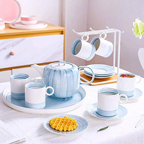 Keramische theeserviezen, Blue Set Koppen en Schotel Dienst for 6, Coffee Cup New Bone China porseleinen kop en schotel Set for melk Latte Mocha en Cappuccino