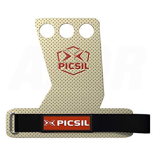 PicSil Azor 3H Calleras para Cross Training Grips 3 Agujeros. Protector de Mano para Hombre y Mujer. Ideal Box y Gym (Size Medium - M, Blanco)