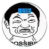 Escala digital de peso corporal de precisión Ronda Decoración de humor Báscula de baño de vidrio templado ultra delgado Mediciones de peso precisas,Cita divertida de Impossibru con diseño de chat web