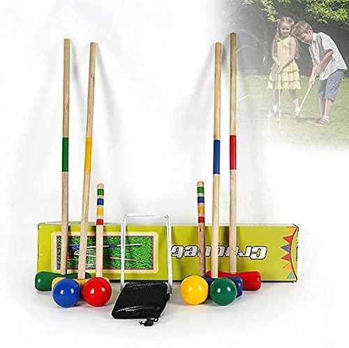 WXFCAS Conjuntos de Croquet para familias, Juegos de croquetes con Juegos de crocks con diseño de Madera Moderno, Conjuntos de Croquet para césped, Patio Trasero y Parque, 28 Pulgadas