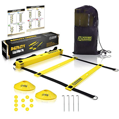 POWER GUIDANCE Agility Ladder (20 Feet) for Speed & Agility Trainning - with 12 Heavy Duty Plastic Rungs, Ground Stakes, Carry Bag & 10 Sports Cones (Yellow)
