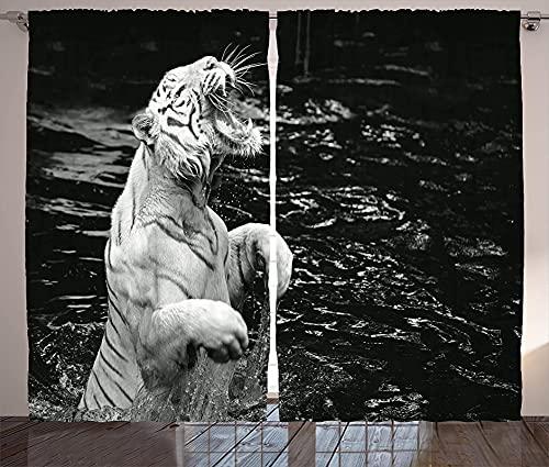 FGYSFT Cortinas Aislantes Tigre Blanco, Animal, Gris Claro 80X184 Cm X 2 Termicas Ventana Para Infantil 2 Piezas Con Ojales 3D Patrón Cortinas Opacas Habitacion Salón Dormitorio Decoración De La Venta