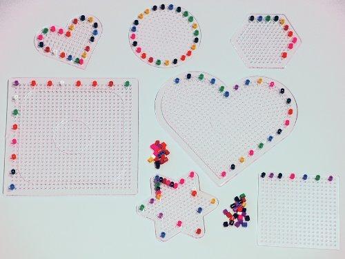 Unbekannt Stift-Platten-Set transparent für Bügelperlen, 7-TLG.