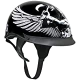 Outlaw T-72 Dual-Visor Glossy Motorcycle Half Helmet with Graphics of...