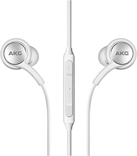 AKG in Ear Earphone 3 5mm Audio Jack with Mic Volume and Play Pause Buttons and Deep Bass Noise Cancellation for All Samsung and Android mobiles White
