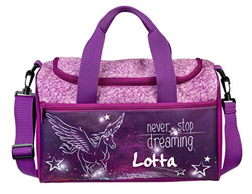 kleine Sporttasche mit Namen | Motiv Pegasus fliegendes Pferd & Sterne in pink & lila | Personalisieren & Bedrucken | Reisetasche für Mädchen