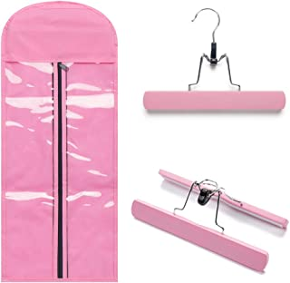Portable Hair Extensions Carrier Non-woven Dust-proof Storage Case with Wooden Hanger for Human Hair Extensions(Light Pink)