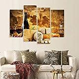 FYBSNDY Calligraphie Peinture 4 Panneaux afficheurs de vin et estampes Cuisine décoration Art Maison Nordique décoration Salon 40x80cmx2 40x100cmx2 sans Cadre