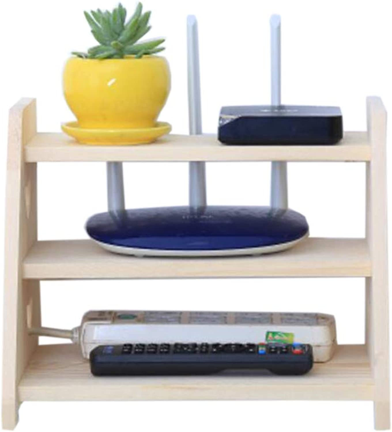 Floating Rack WiFi Wall Mount Bracket Solid Wood Multi-Layer Storage Box Versatile, Multiple colors (color   3 Layers of Wood)