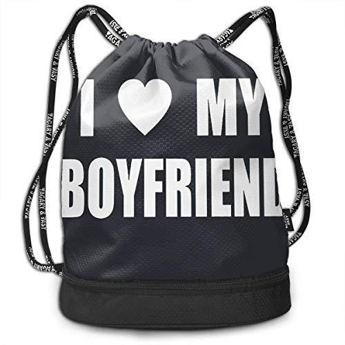 DPASIi Mochila unisex con cordón multifuncional con diseño de I Love My Boyfriend para la escuela, informal, para exteriores, cierre de cuerda ajustable.
