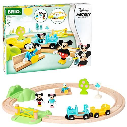 BRIO World 32277 Micky Maus Eisenbahn-Set - Ergänzung der BRIO Holzeisenbahn - Empfohlen ab 3 Jahren