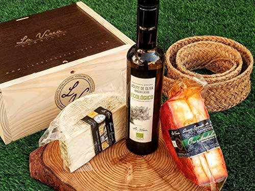 Cesta Caja Regalo GOURMET. La Verea Andaluza. Mix de Quesos artesanos y Aceite de oliva ECOLÓGICO, 100% Monovarietal Arbosana. Totalmente natural y orgánico. (PACK D-2. Cabra + Pimenton)