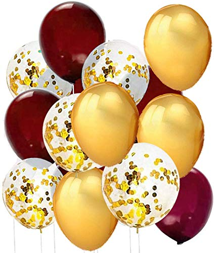 Qian's Party Burgundy Gold Confetti Balloons for Burgundy Gold Bridal Shower Decorations/Fall Burgundy Gold Birthday//Fall In Love Bridal Shower Decorations/Maroon Gold Wedding Decorarions