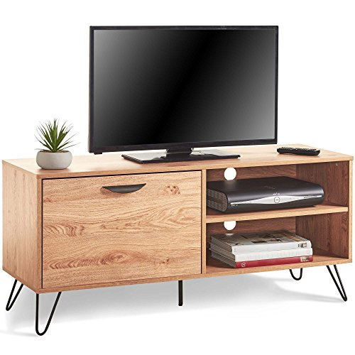 VonHaus Capri TV Unit 120cm 47in - TV Stand, Media Unit, Entertainment  Centre - Pull Down Door & 2 Shelves - Vintage Scandi Storage Console Table  - ...