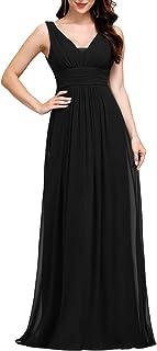 Ever-Pretty Vestito da Damigella Donna Linea ad A Scollo a V Chiffon Stile Impero Lungo 08110