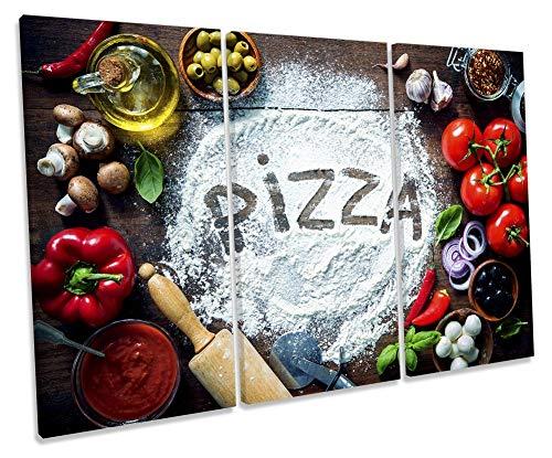 Canvas Geeks Pizza Kitchen Ingredients - Tela da Parete Multicolore con Cornice, 150cm Wide x 100cm High