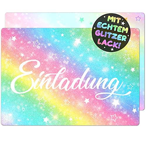 12x Glitzer EINLADUNGSKARTEN für PARTY und KINDERGEBURTSTAG - die Karten im bunten Regenbogen Stern Design sind die EINLADUNG für Mädchen Jungen Kinder zum GEBURTSTAG Einschulung und KINDERPARTY