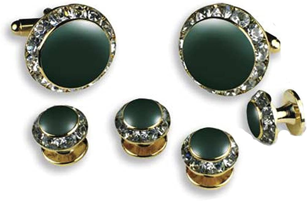 EZ Tuxedo Crystal Cufflinks and Studs with Hunter Green Center