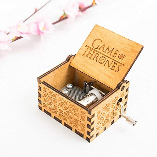 UUsave Hedwig Music Box Theme Potter Game of Thrones Hand Engraved Antique Carved Wooden Music box Hand cranked Music Theme Gift (Game of Thrones theme)