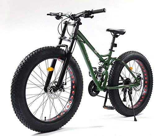 26 pulgadas de bicicletas de montaña, Fat Tire MTB bicicleta softail bicicleta, bicicleta de montaña de suspensión completa, marco de acero de alto carbono, doble freno de disco,Verde,24 speed