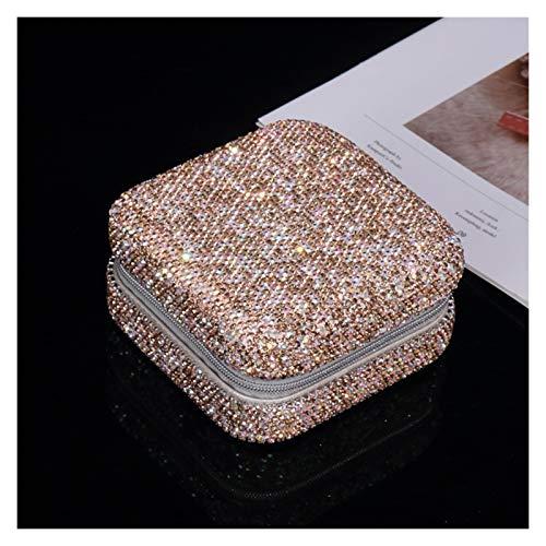LTCTL Caja De Joyería De Viajes Caja De Anillos De Anillo Pequeño Diamante Joyería Diamante Caja De Almacenamiento De Joyería Portátil (Color : Champagne)