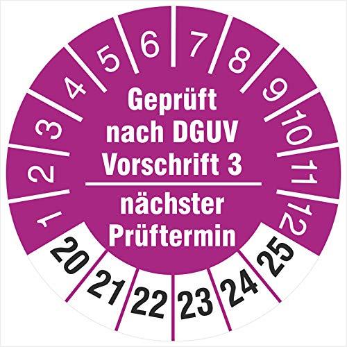 500 Prüfplaketten 30 mm geprüft nach DGUV Vorschrift 3 nächster Prüftermin 2020-2025 Prüfetiketten