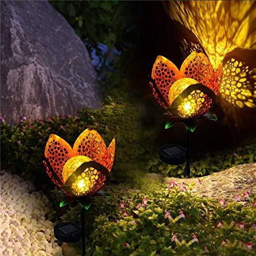 GKJRKGVF Solarlamp, LED, 2/4 stuks, bloemen, IP65, ijzer, decoratie, gazon, landschap, decoratie, waterdicht, nachtlampje