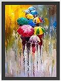 Acryl Kunst Regenschirme Kunstdruck Poster -ungerahmt- Bild