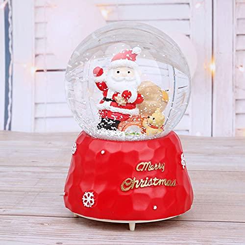 Caja de música Lindo cachorro con muñeco de nieve Accesorios de decoración de Navidad Caja de música Bola de cristal adornos Decoración de la decoración de la decoración de la decoración FIGURINAS Dec