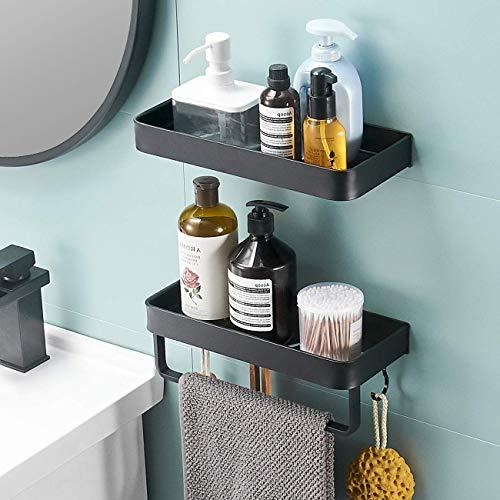 VOLPONE - Cesta de ducha con ganchos para barra de toalla para colgar esponjas, afeitadoras y champús, organizador sin perforaciones, estante montado en la pared para baño, cocina (11.8 pulgadas, 2 niveles