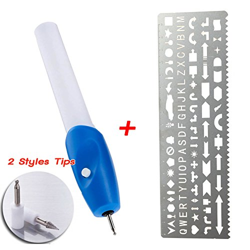 Engraver Pen Cordless Etching Tools with Metal Ruler Letter Stencils - 2 Styles Tips - for - Wood -Metal - Plastic - Zippo - Jewelry -Glass and etc