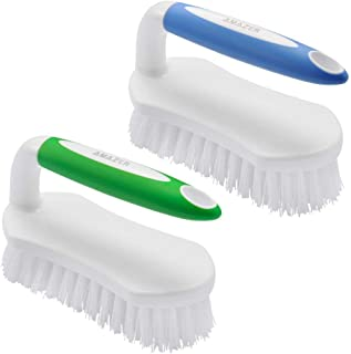 Amazer Scrub Brush Comfort Grip & Flexible Stiff Bristles Heavy Duty for Bathroom Shower Sink Carpet Floor - Pack of 2(Blu...