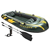 oldzon Seahawk 4 Inflatable 4 Person Floating Boat Raft Set with Oars & Air Pump with Ebook