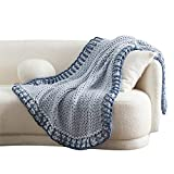 Bedsure Chunky Knit Blanket - Knitted Throw Blankets Soft Big Yarn Thick Braided Knot Crochet Cable Rope Handmade Giant Blankets and Throws(Blue, 50'x60')