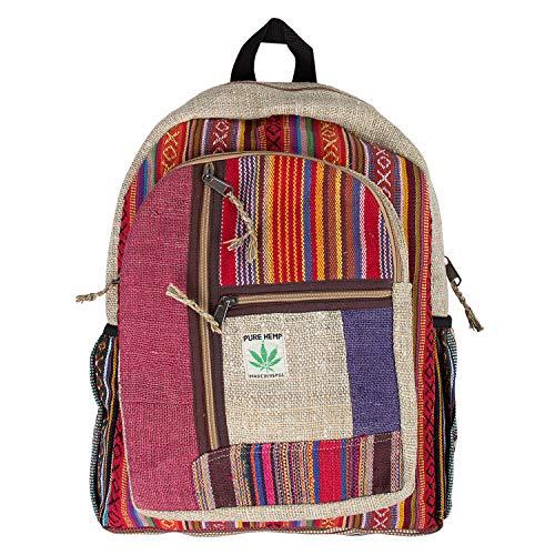 Rucksack aus Hanf, Natürliche Tasche, Handgemacht in Nepal, Stripes