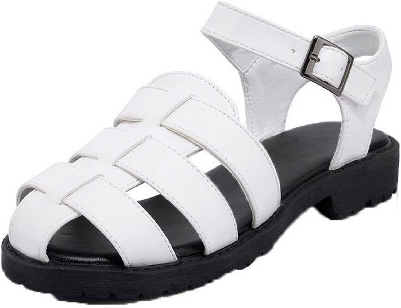 WeiPoot Women's Buckle Pu Open Toe Low-Heels Solid Sandals, EGHLH004737