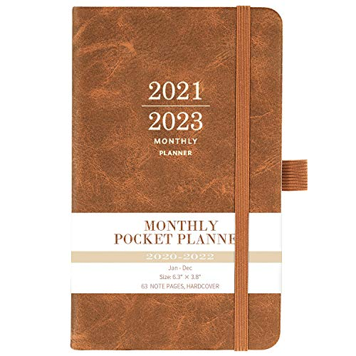"""2021 - 2023 Monthly Pocket Planner - Three Year Pocket Monthly Calendar, 36 - Month Planner with Pen Hold, 6.3"""" × 3.8"""", Jan 2021 - Dec 2023, Elastic Closure, Page Divider, Inner Pocket, Thick Paper"""