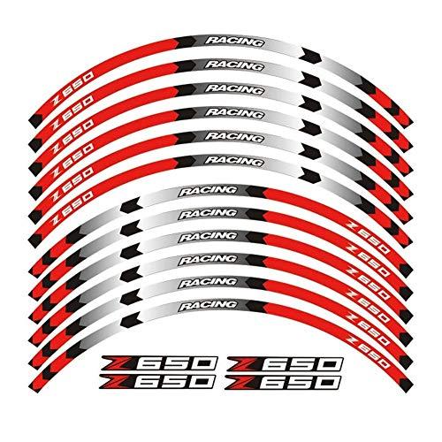 Pegatinas coche moto Venta caliente de la rueda de la motocicleta de 17 pulgadas decals pegatinas reflectantes llanta rayas FIT Kawasaki Z650 Z650 2017 Rueda (Color : 1)