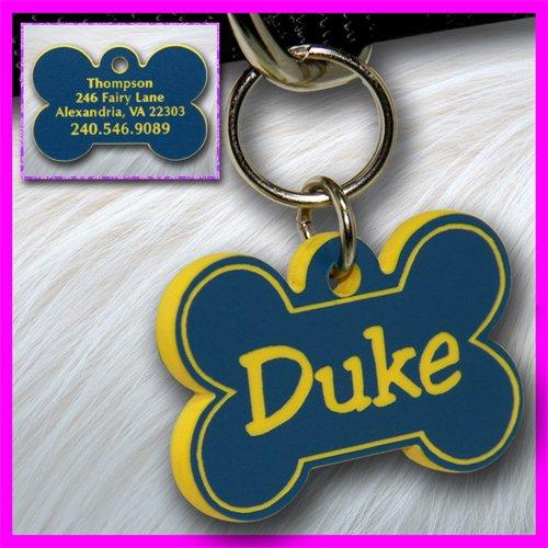 Personalized Custom Engraved Plastic Pet Dog ID Tag 2-sided Bone Blue/Yellow