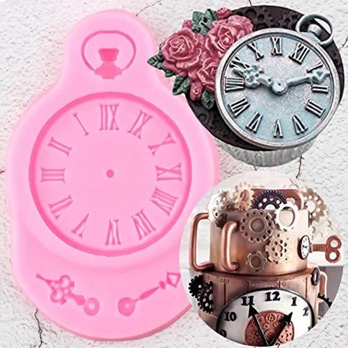 YTBUBOR Steampunk Reloj Moldes de Silicona Cumpleaños Cupcake Topper Herramientas de decoración de Pasteles Moldes de Chocolate de Arcilla Dulce