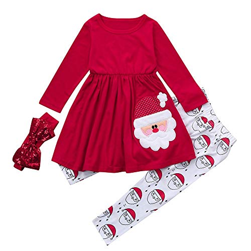 Jimmackey Bambino Ragazze Manica Lunga Applique Vestiti Tutu Top & Stampa Santa Pantaloni Natale Abiti Set (Rosso, 24 Mesi)