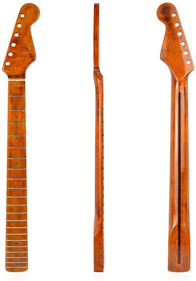 YIPUTONG Guitarra eléctrica mástil de Guitarra 21 trastes mástil de Arce de Guitarra mástil de Guitarra eléctrica para reemplazo de Guitarra ST Strat 65.5 * 5.6cm mástil de Arce de reemplazo Amarillo