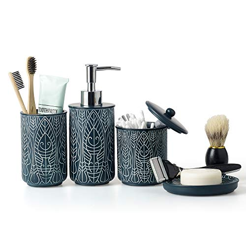 VIRTUNE Premium Navy Blue Bathroom Accessory Set. Home and Apartment Essentials Including Hand Pump Soap Dispenser, Soap Dish, Toothbrush Holder, and Tumbler Cup. Modern Bathroom Decor